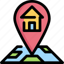 building, gps, home, house, location, map, navigation icon
