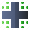 direction, intersection, road, sign icon