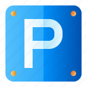 parking area, road-sign, direction, traffic-sign icon
