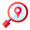 location, magnifying glass, pin, search