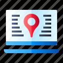 laptop, location, pin, web