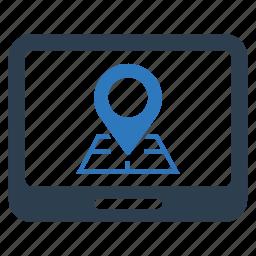 location, navigation, pointer, road icon
