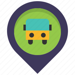bus, location, map, pin, station, stop, travel icon