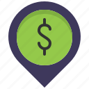 location, map, money, pin, place, shop, store icon