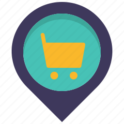 cart, location, mall, map, pin, shop, shopping icon