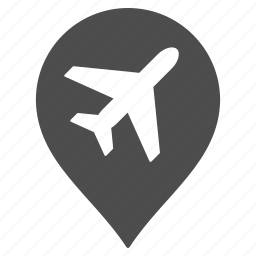 aeroplane, aircraft, airlines, airplane, airport marker, flight, map pointer icon