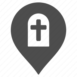 cemetery, flag, funeral marker, grave pin, graveyard, map pointer, rip icon