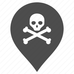danger, death, flag, map pointer, marker, pin, warning icon
