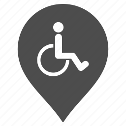 disabled parking, flag, handicap, map pointer, marker, pin, wheelchair icon