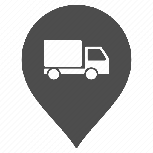 flag, garage, lorry, map pointer, marker, navigation, pin icon