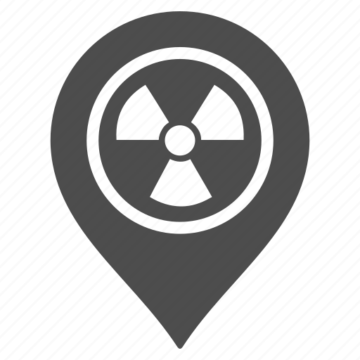 atomic, flag, hazard, map pointer, marker, pin, radioactive icon