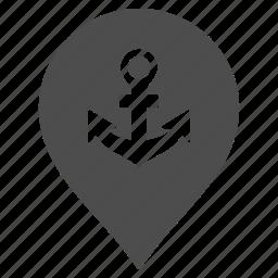 anchor, map pointer, marine, marker, pin, port, sea port icon