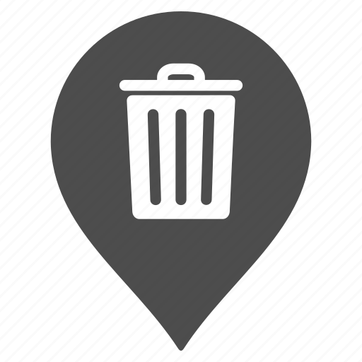 dustbin, flag, garbage, map pointer, marker, pin, trash can icon