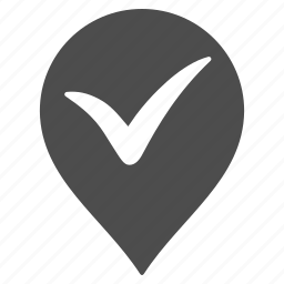 approved, check, flag, map pointer, marker, pin, valid icon