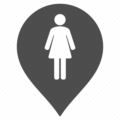 female, lady restroom, map pointer, marker, pin, toilet, wc icon