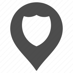guard, map pointer, marker, pin, police, protection, shield icon