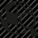 globe, magnifier glass, search, world icon