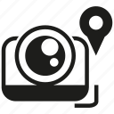 camera, lens, pin icon