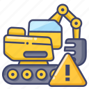 construction, excavator, warning, work icon