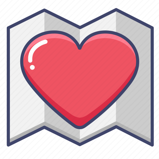 favorite, heart, like, map icon