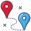 distance, pin, route icon