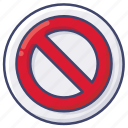 block, forbidden, sign, stop icon