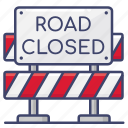 block, closed, road, stop icon
