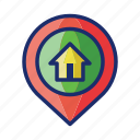 home, destination, house, location, pin