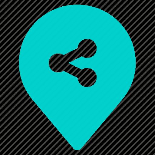 gps, location, navigation, pin, share icon