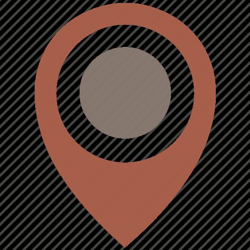 brown, dot, location, poi, pointer icon