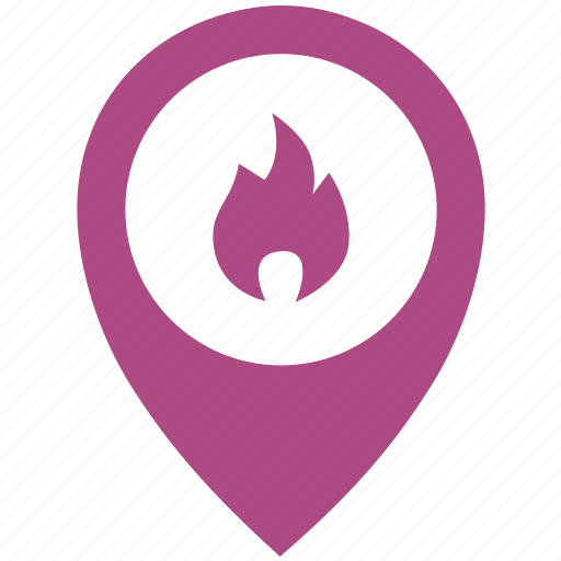 fire, flame, flash, location, poi, pointer icon
