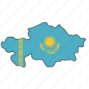 kazakhstan, flag, country, national, nation, world, globe