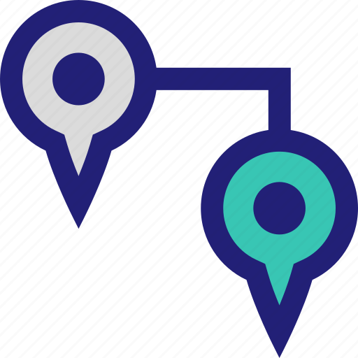 connect, direction, pins, two icon