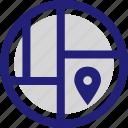 gps, location, map, pin, street icon