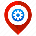 gear, location, map pin, navigation, pointer, preferences, settings icon