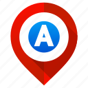 letter a, location, map, marker, navigation, pin, pointer icon