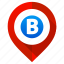 letter b, location, map, marker, navigation, pin, pointer icon