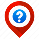 location, map, marker, navigation, pin, pointer, question mark icon