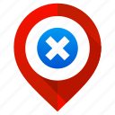 cancel, cross, location, map, navigation, no, pin icon