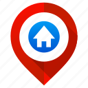 home, house, location, map, navigation, pin, pointer icon