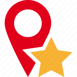 favorite, map, pin, place, star icon