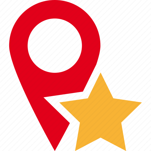 favorite map pin place star icon