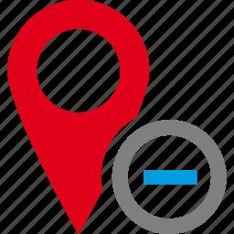 address, delete, location, map, minus, pin, route icon