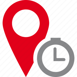 clock, destination, location, map, pin, planification, time icon