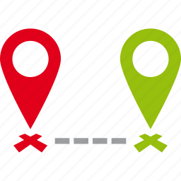 distance, goals, map, pin, points, two icon