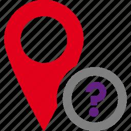 destination, map, pin, strange, unknown, unnamed icon