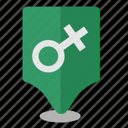 female, location, map, poi, pointer, woman icon