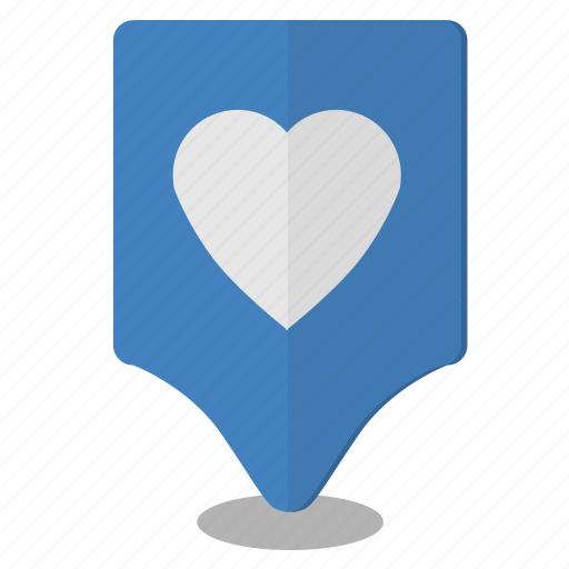 heart, location, love, map, poi, pointer icon
