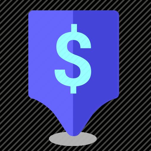 bank, dollar, exchange, location, poi, pointer, usd icon