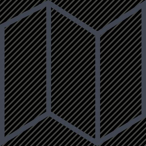 folds, locate, map, three icon